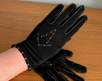 Antique Black Silk Embroidered Gloves