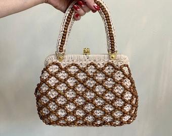 1960s Crochet Handbag with Wooden Bead Net