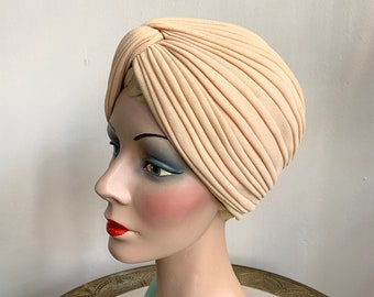1960s Does 1930s Wool Crepe Turban