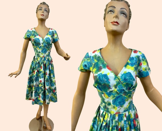1950s Peggy Page Flower Print Swing Dress | Size M