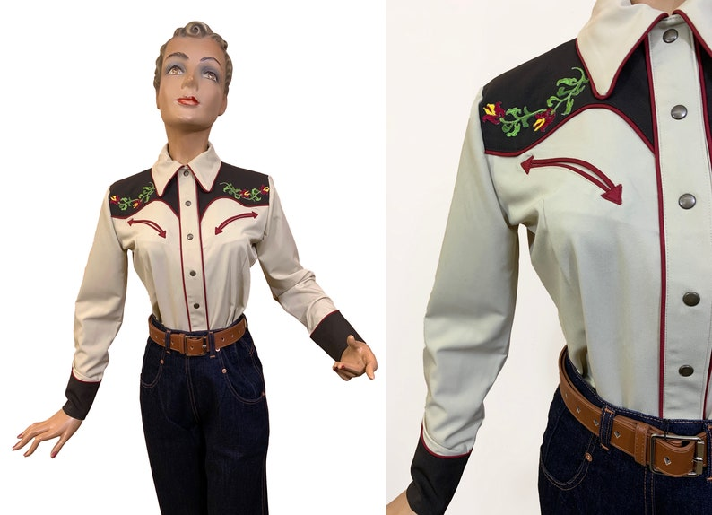 Mary Lou 1940s Style Women/'s Western Blouse Brown