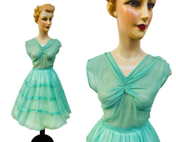 1950s Sheer Green Swing Dress w. Tiered Skirt | Si