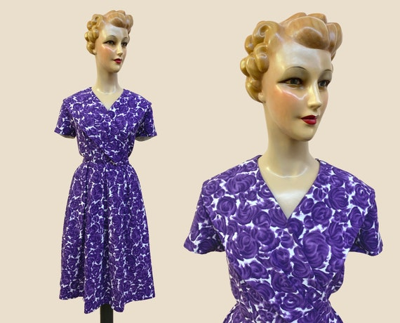 1950s Purple Swing Dress | Size Medium