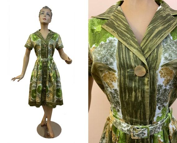 1950s Poplin Cotton Shirtwaist Dress w. Belt  | Si