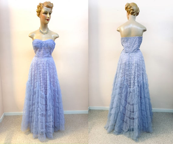 1950s Lavender Blue Three Layered Lace Tulle and S