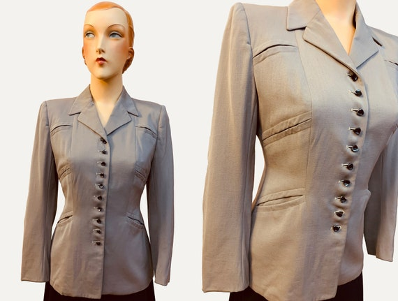 1940s Fitted Grey Gabardine Wool Jacket | Size Sma