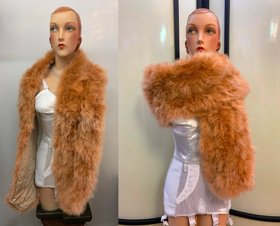 1930s 1940s Old Pink Champagne Marabou Feather Sto