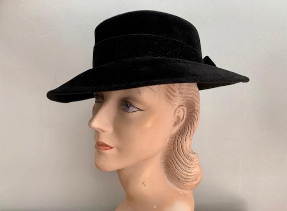 1940s Black Velvet Fedora Women's Hat