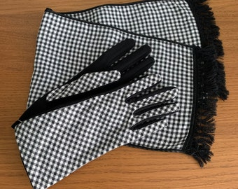 NOS 1960s Checkered Scarf and Glove Set