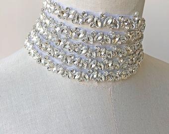 Rhinestone Crystal Trimming Iron on Diamante Applique Bridal Accessories  Motif for Wedding Dress Straps Sash Belt Headband Custom length 2e9f1d7930ee