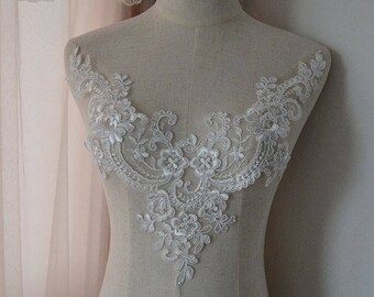 D flower lace applique with crystal detailing motif sewing etsy