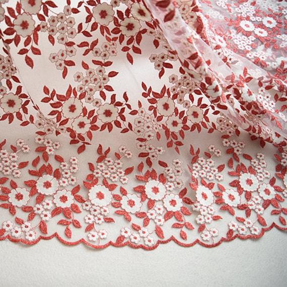 Tissu rouge fleur mouture mariage fleur broderie dentelle gaze mariage mouture dentelle élégant 53 pouces de largeur pour robe robe vendu par yard 362c47