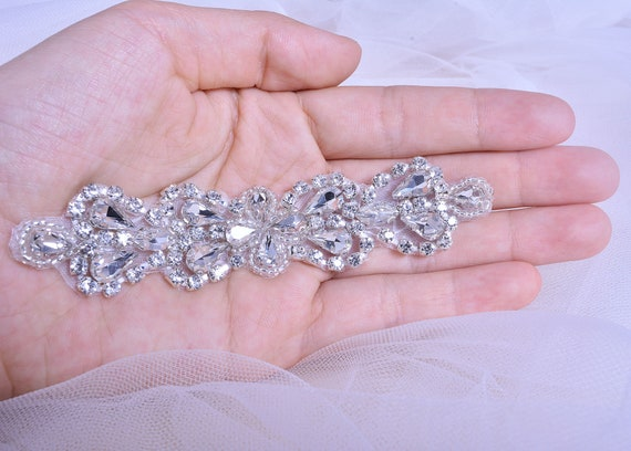 Clear Crystal Stone Applique Bling Rhinestone Appliques Patch DIY Addition