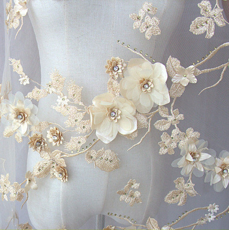 Exquisite Lace Fabric  3D Flower Lace Mesh with Crystal  Beaded Lace Bridal Embroideried Gauze Chic Wedding Lace Fabric 51 inches width