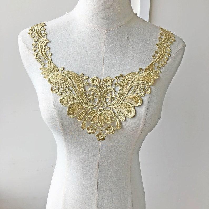 697ed64928 Golden Lace Applique Guipure Lace Motif Vintage Embroider