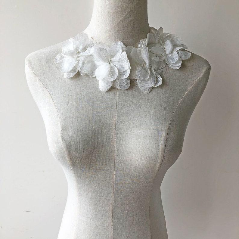 b2d8af2c31b Shabby 3D Flower Lace Applique Chiffon Flower Lace Trim White