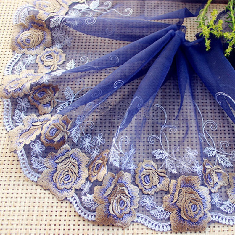895b38af9622c Navy Embroidery Lace Trims Stunning Flower Lace Edge Fringe for Party Gown  Wedding Decor Dance Costume Doll Craft 7.9 '' Width 1 yard