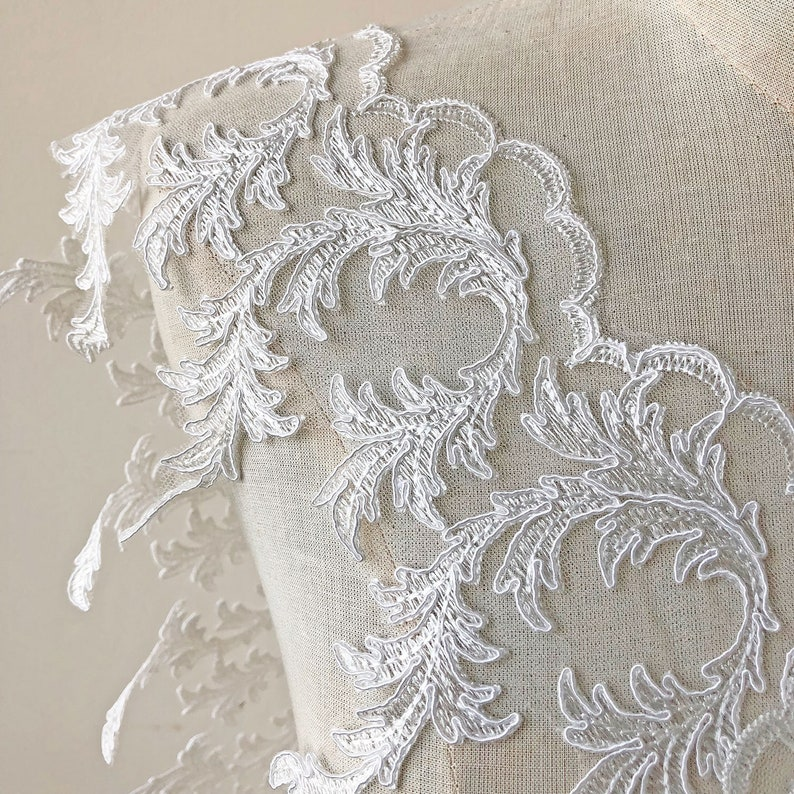 """1/"""" White Satin Bridal Pearl Beaded Corded Lace Trim Cut Outs by Yard"""
