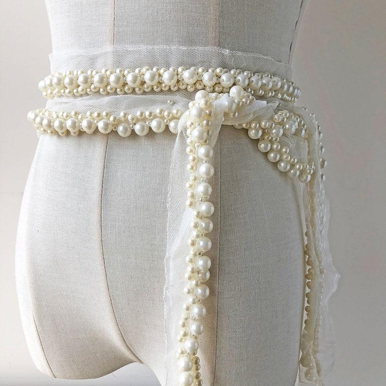 Cintura da sposa abito da sposa cintura Pizzo Perle Perline di Vetro paillettes Ivory