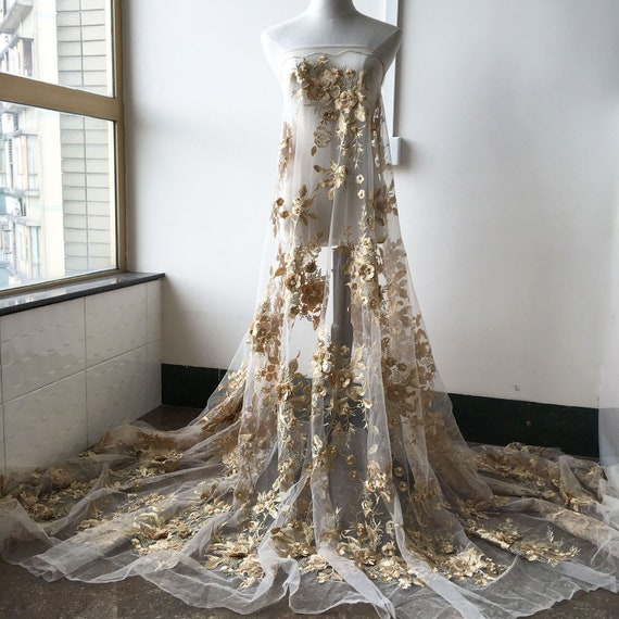 Blossom Bridal Gown DIY Lace Fabric Corded Embroidery Wedding Dress Fabric 1 Y