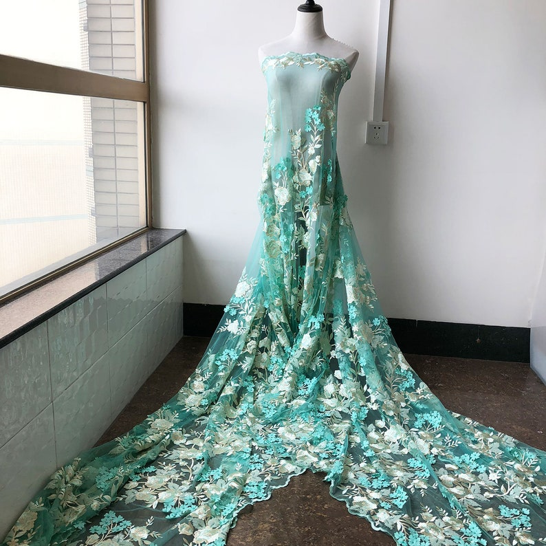 """2 MTR TURQUOISE SCALLOPED BRIDAL EMBROIDED LACE NET FABRIC...52/"""" WIDE"""