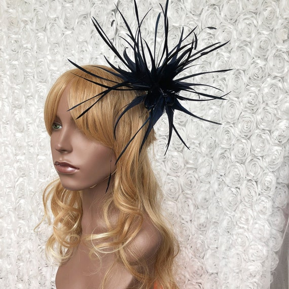 Stunning Twisted Feather Mount Coque Millinery Feather Flower  1bd3d56124e
