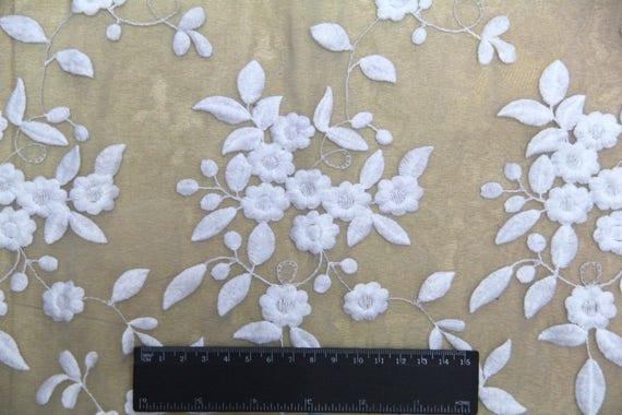 Off White dentelle tissu Floral dentelle Tulle Tulle dentelle souple brodé mariage dentelle gaze de coton pour robe corsages métier faisant 49 pouces 1 Yard 5f472e