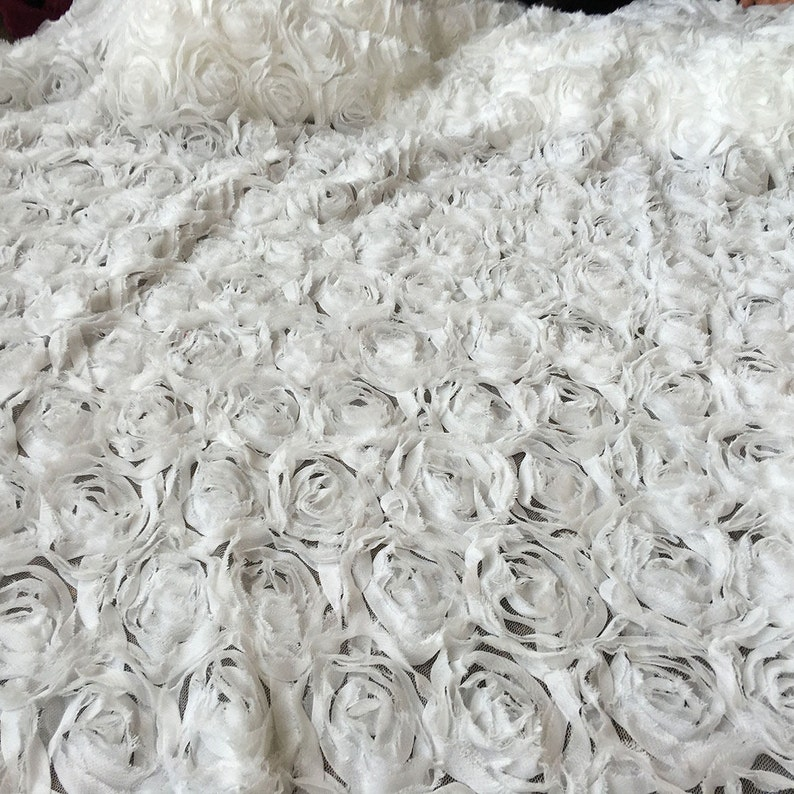 Stunning 3D Rose Lace Fabric Off White Blossom Flower Wedding Party Lace for Bridal Gown Evening Dress Prom Costume 51 /'/'Width 0.5 Yard