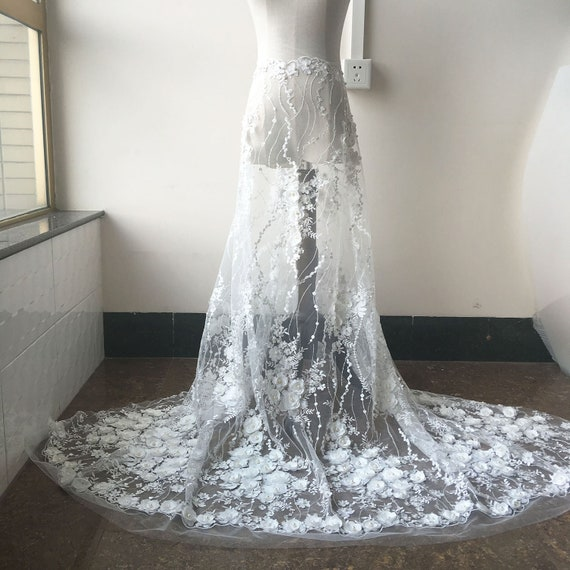 """Vintage Off White Beaded Wedding Dress Fabric 51/"""" Bridal Tulle Lace Fabric 0.5 M"""