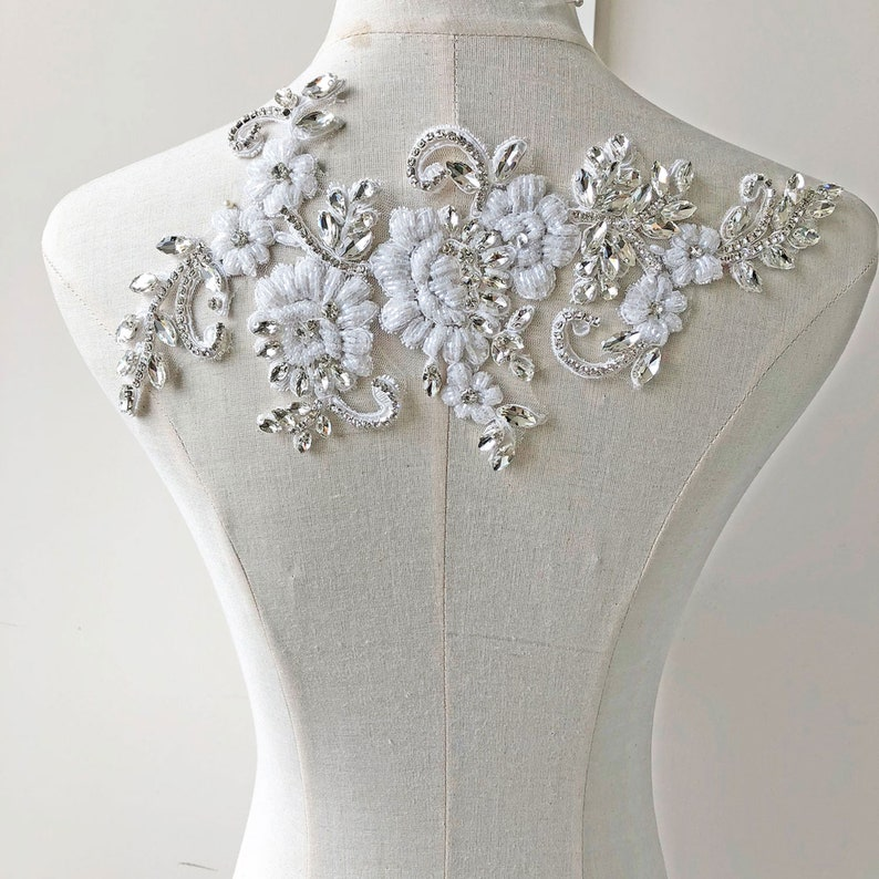 Bridal Dress Applique Rhinestone Beaded Embroidery Crystal Flower Lace Patch Sparkle Addition for Wedding Dresses Bridal  Cover Up