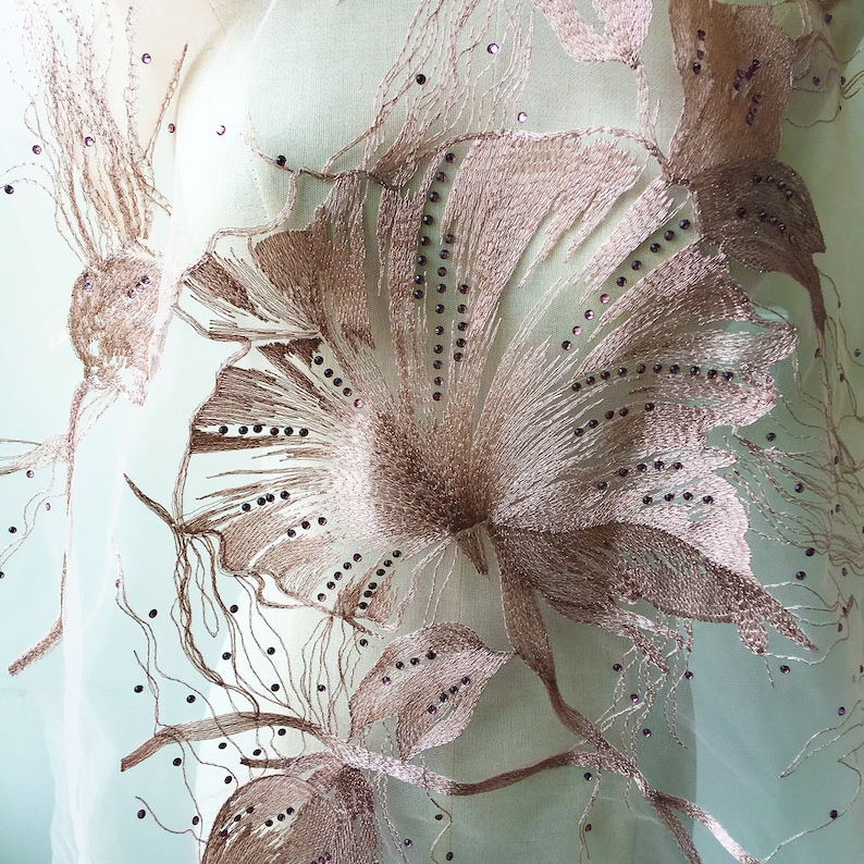 Pinkish Rhinestone Lace Fabric Beading Embroidered Lace Gauze  Flower Lace Gauze with Diamante Details Sewing Fabric  51 inches 0.5 meter