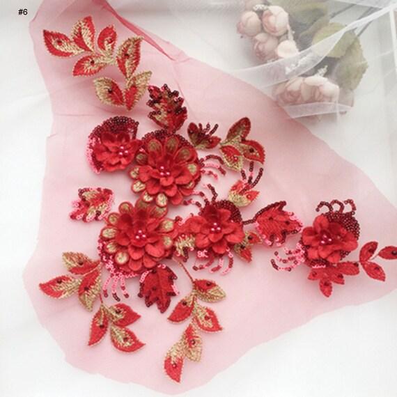1 X 3D Floral encaje y apliques//decorativo Adorno de encaje de Coser Varios Colores #3