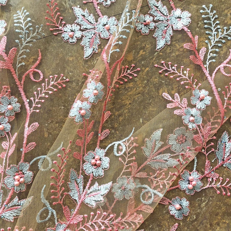 Exquisite Beaded Lace Fabric Wedding Dress Lace Embroidery Flower Lace Mesh Floral Vine Scalloped Edge Gauze 51 inches Width Sold by 1 yard