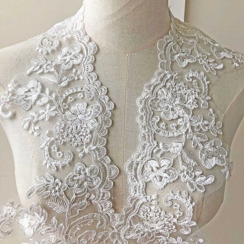 Bridal Dress Embroidered Lace Trim Corded Floral Wedding Gown Edging Ribbon 1 Y