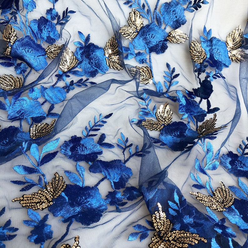 Sapphire Blue Sequins Lace Fabric Embroidery Flower Vines Lace Overlay  For Dance Dress Party Gown 55 inches Width Sold by yard