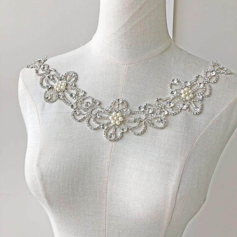 Rhinestone Diamante Pearl Chain Trim Wedding Dress Belt Bridal Bead Applique