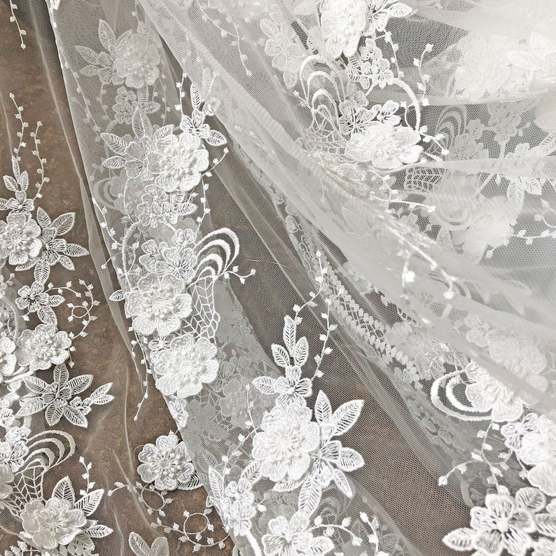 3D Embroidery Flower Lace Fabric  Scalloped Edge Off-White Lace Mesh for Bridal Gown Wedding Dress 51 inch Width Sold by 0.5 Meter