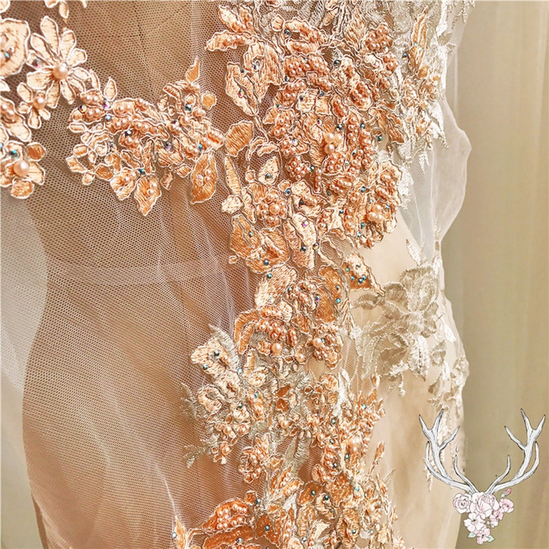 Luxury Heavily Beading Lace Flower Embroidery Floral Lace Hem Embellishment Lace Applique Stitch for Evening Dresses Prom Dress