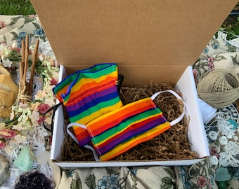 Rainbow Face mask with bag reusable washable for adults ready to ship