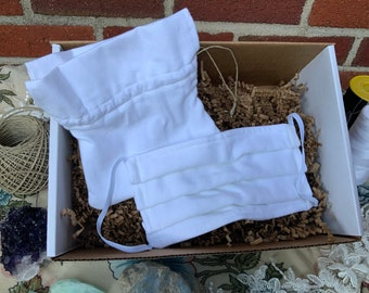 White Cotton Face mask with bag reusable washable for adults ready to ship