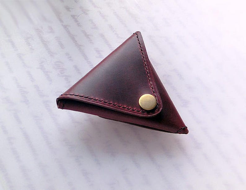 Triangular Crazy Horse Genuine Leather Coins Purse Unisex