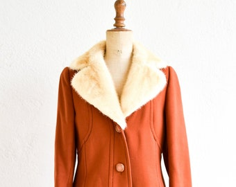 wool overcoat French vintage 1950s princess dress coat ALMINA Paris fashion real fur collar lined burnt orange button down adult size med FR