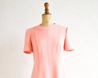 vintage pink summer dress a line short sleeve handmade 60s retro French mod fashion above the knee