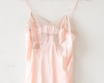 french vintage pure silk lace nightdress slip strappy pale pink above the knee sleeveless handmade bias cut lingerie nuisette