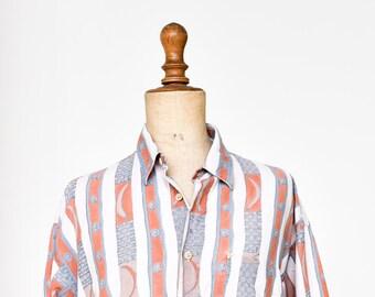 NEW MAN French vintage summer shirt short sleeve moon cosmic light fade blue orange planetary celestial striped button size 3 medium 1980s