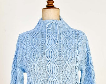 Gottelier ARTWORK BLUE vintage denim cable knit handmade cotton blue pullover jumper long sleeve sweater pockets collectible original 1999