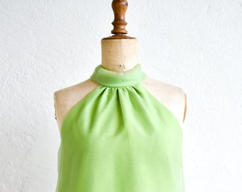 dress blush green cocktail ruffle aline french vintage haute couture ROSE LYNNE halter neck wedding special occasion party fashion 60s rare