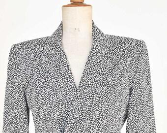 80s vintage jacket Rickie Freeman for Teri Jon designer fashion black white printed cotton fully lined waist long sleeve shoulder pads rare
