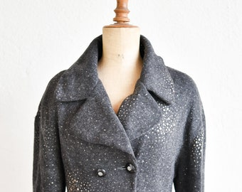 jacket French vintage CHRISTIAN IILINARES Paris double breasted dark grey sparkly glitter angora short waisted adult size medium FR 38 rare