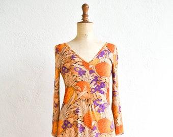 vintage sheath dress Betty Barclay v neck fitted floral print cotton blend knee length long sleeve modal cotton medium adult size FR rare